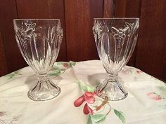 """(2) LENOX BUTTERFLY MEADOW CRYSTAL 6 7/8""""  ALL PURPOSE WINE GLASSES"""