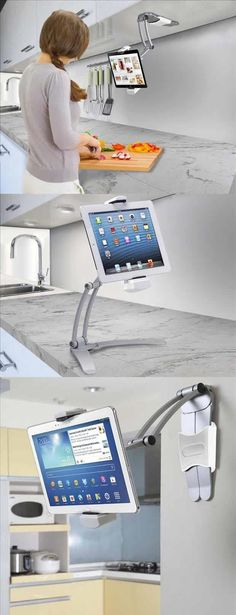 Amazon.com: #Kitchen Mount #Stand for iPad Air, iPad mini, Surface, & Other 7-10 Inch #Tablets #Electronics