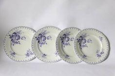 Antique French Lavender Transferware Flore Dessert Plate