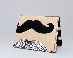 Mini Wallet  Mustaches on Tan with Black Pearl lining by TheHumblePenguin, $8.00 #Mustache