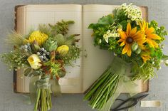 rustic yellow and green bouquet