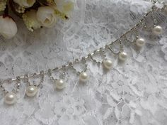 Crystal Rhinestone Pearl Chain for Wedding Sashes by lacelindsay