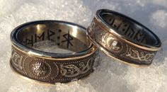 Wedding/hand fasting rings; Silver serpents with gold bands and secret runic message within. Made by Jason of England.