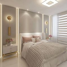 Clean and cozy room with gold sconces and knitted blanket _______________ . Luxury Bedroom Design, Master Bedroom Interior, Bedroom Bed Design, Home Room Design, Girl Bedroom Designs, Home Interior, Home Bedroom, Interior Design Living Room, Living Room Decor