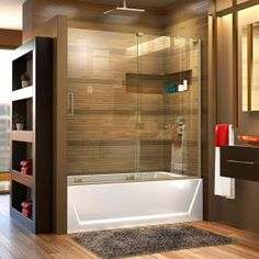 Delta Classic 400 Curve 60 in. x 62 in. Frameless Sliding Tub Door in Stainless-B55910-6030-SS - The Home Depot Custom Shower Doors, Frameless Shower Doors, Shower Enclosure, Shower Tub, Shower Niche, Acrylic Shower Base, Bathtub Doors, Freestanding Bathtub, Wall Installation