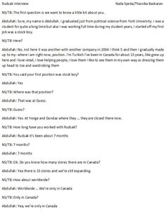 Page 1 of the Interview with a member of the Rudsak team.