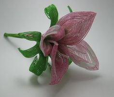 French beaded beaded pink calla lily bridesmaid bouquet