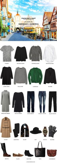 What to pack for Germany and Austria Packing Light List Reise Packen Paris Packing, Packing For Europe, Packing List For Travel, New Travel, Travel Style, Travel Fashion, Packing Tips, Travel Wear, Packing Outfits