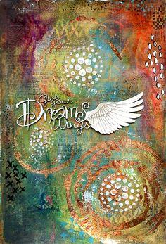 Give your Dreams Wings art journal by Jill Wheeler featuring Scrap FX products: Geometry stencil, Daisy Garden stencil, Harlequin foam stamp, Dreams Wings title. www.scrapfx.com.au