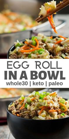 If you love egg rolls youll LOVE this healthy egg roll in a bowl / crack slaw! It's an easy meal that you'll for sure want in your rotation plus it freezes well too! It's low carb gluten free paleo AIP THM and keto: perfect for so many healthy lifestyles! Low Carb Meal Plan, Low Carb Lunch, Low Carb Dinner Recipes, Lunch Recipes, Healthy Recipes, Paleo Dinner, Keto Recipes, Ketogenic Recipes, Free Recipes