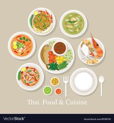 Thai Food and Cuisine Set Royalty Free Vector Image Indian Food Menu, Indian Food Recipes, Second Harvest Food Bank, Food Poster Design, Thai Street Food, Food Drive, Food Icons, Food Drawing, Cute Little Things