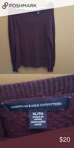 Cute ae sweater Super cute ae plum colored sweater with zipper back detail . Great condition :)! Only wore 2x American Eagle Outfitters Sweaters