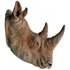 Stupenda testa di Rinoceronte bianco 1:1.Trofeo di caccia non cruento.Nostra produzione esclusiva, calco di nostra proprietà.Lo realizziamo sia in argilla normale che in argilla grigia.
