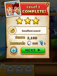 Jewel Mania Level Completed: screenshots, UI
