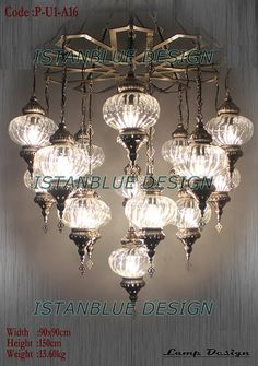 16 Globe BLOWN GLASS Turkish Handmade Ottoman Chandelier