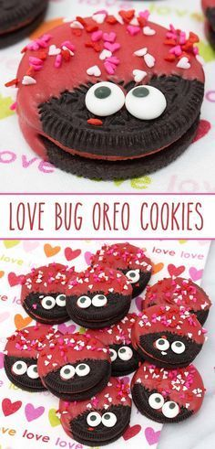 Day Love Bug Oreo Cookies – delish Hot & Spicy Cinnamon Oreos dressed to impress for Valentine's Day.Love Bug Oreo Cookies – delish Hot & Spicy Cinnamon Oreos dressed to impress for Valentine's Day. Valentine Desserts, Valentines Day Food, Valentine Cookies, Valentine Day Crafts, Valentines Recipes, Valentines Baking, Valentine Party, Valentines Day Chocolates, Valentine Cooking With Kids