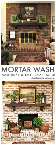mortar wash tutorial, how to mortar wash, german smear, brick fireplace makeover White Wash Brick Fireplace, Red Brick Fireplaces, Fireplace Update, Brick Fireplace Makeover, Fireplace Mantels, Brick Fireplace Decor, Fireplace Whitewash, Brick Fireplace Remodel, Farmhouse Fireplace