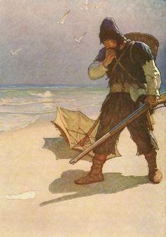 N. C. Wyeth illustration for Robinson Crusoe