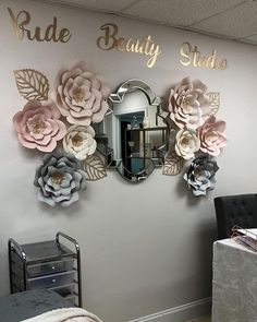 Absolutely love the way my amazing client pride beauty studio set up the flowers I made for her beauty studio paperflowersbyirene Nail Salon Design, Home Nail Salon, Nail Salon Decor, Beauty Salon Decor, Salon Interior Design, Salon Nails, Paper Flower Decor, Paper Flower Backdrop, Giant Paper Flowers