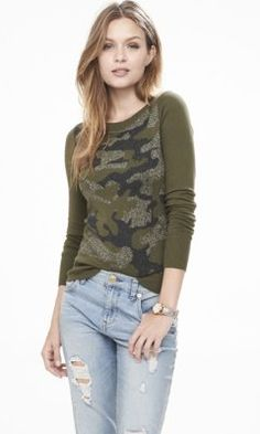 metallic camo crew neck sweater from EXPRESS