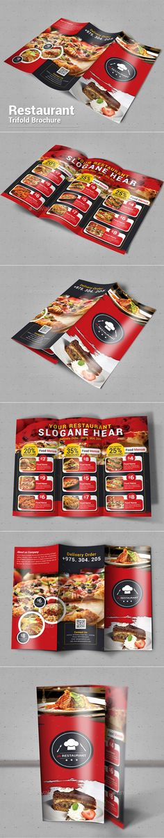 Restaurant Trifold Brochure Template PSD