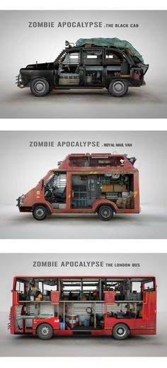 Zombie apocalypse wheels ... I love the mail van :D