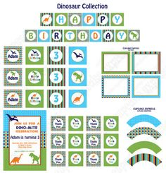 DIY Dinosaur Birthday Collection PRINTABLE Party by CupcakeExpress, $4.50