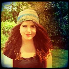 6 to 12 Year Crochet Hat in Gradient Stripes Blue Green Turquoise £8.00