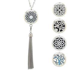 1pcs Heart Locket Pendant Long Tassel Chain Aromatic Oil Diffuser DIY Necklace