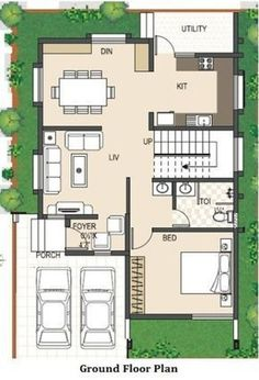 A Duplex house plan is for a single-family home that is built in two floors having one kitchen and dining. The duplex house plan gives a villa look and feel in small area. Small House Layout, House Layout Plans, House Layouts, 2bhk House Plan, Model House Plan, Small House Plans, Duplex Floor Plans, Apartment Floor Plans, House Floor Plans