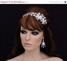 SALE - Swarovski Headband , Wedding Headband , Bridal Headpiece , Bridal Hair Accessory ,  Prom Crystal Bachelorette Headband
