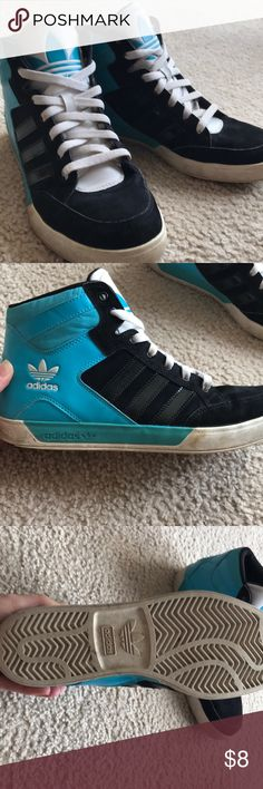 MENS Adidas high top sneakers Mens size 9 high top sneakers. They were worn a lot so they are stained along the soles. They are black, white and a turquoise. adidas Shoes Sneakers
