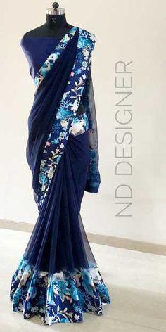Satin patta at (PID: Satin patta saree lenghth mtrs with satin crepe blouse and pallu. Chiffon Saree, Saree Dress, Satin Saree, Trendy Sarees, Stylish Sarees, Indian Dresses, Indian Outfits, Indian Clothes, Beautiful Saree