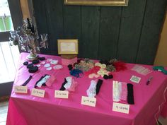 Headband making station for guests at Tori's shower