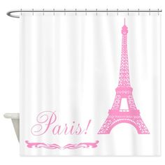 Pink Eiffel Tower Paris Shower Curtain on CafePress.com