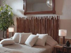 Wooden Stick Headboard - 40 Rustic Home Decor Ideas You Can Build Yourself