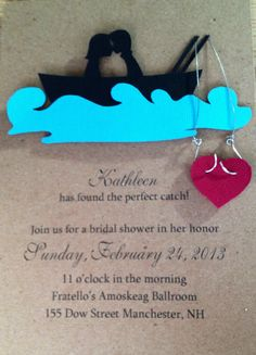Fishing theme bridal shower invitation (don't forget to include RSVP date and info at the bottom); front view