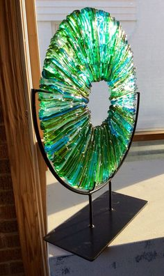 "Larry Pile/Kessler Craftsman Kiln Glass Sculpture ""Vitrium V""(use uneven side pieces) Glass Wall Art, Fused Glass Art, Stained Glass Art, Mosaic Glass, Window Glass, Art Of Glass, Verre Design, Glass Design, L'art Du Vitrail"