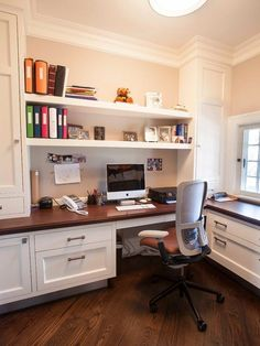 Home Office Design, Transitional Home Office Design Ideas With Peach Wall Color Also White Shelves Also Leter L Corner Desk With Brown Wooden Countertops And White Drawers Also Back Pain Swivel Chair Design And Brown Laminate Floor: Tremendous Home Office Ideas for Men