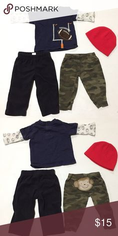 🎈SALE🎈4 Piece Set Description: Carters 6M navy Top, black pants, Camo Monkey Butt pants and healthtex one size red beanie Defects: None Condition: Excellent  Smoke free home with cats and dogs. Washed in All Free & Clear. No Dry clean or stain treatments due to skin allergy. 🐰WILL SEPARATE UPON REQUEST🐰 Carter's Matching Sets