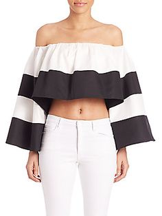 Kendall   Kylie Santorini Off-The-Shoulder Ruffle Top
