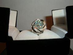 RARE Ring 1950s Floating Aurora Borealis Crystal Gems Sterling Rose Opal Style   eBay-crystastarr
