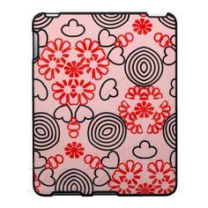 Hearts Flowers Swirls Pattern Pink Red Black iPad Cases