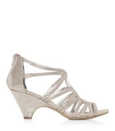 Possible bridesmaid shoes? Silver Bridesmaid Shoes, Silver Shoes, Shoe Gallery, Caged Sandals, New Look, Wedges, Virtual Closet, Outfit, Wedding