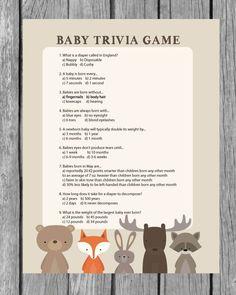 Printable Baby Shower Trivia Game - Woodland Animal Theme