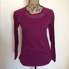 Dark Pink Top This is a long sleeve top from Xhilaration size XL. Has cute studs & is brand new with tag. Xhilaration Tops