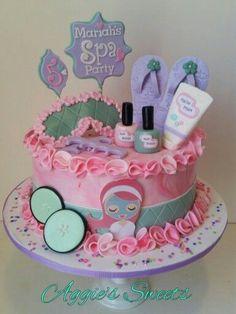 Spa Birthday Party Cake More - Olivia's Spa Party - Spa Party Cakes, Spa Cake, Spa Day Party, Kids Spa Party, Pamper Party, Cupcake Party, Spa Sleepover Party Ideas, Ideas Party, Salon Party