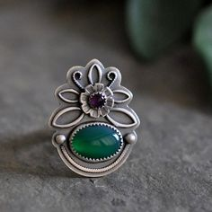 Green Onyx Ring with Amethyst, Oxidized Sterling Silver Ring