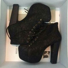 Jeffrey Campbell Lace Lita's Currently selling my JC black lace lita's size They're in mint condition, comes with original box and can wear them with pretty much anything. For additional photos or info, dm me :-) Thanks! High Heel Boots, Heeled Boots, Shoe Boots, High Heels, Shoes Heels, Dream Shoes, Crazy Shoes, Me Too Shoes, Pretty Shoes
