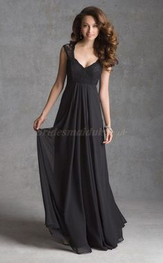 Chiffon Scoop Neckline Bridesmaid Dress with Short Sleeves in Black Bridesmaid Dresses